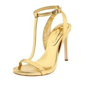 BCBG Max Azria Danya  Open Toe Leather Gold Sandal